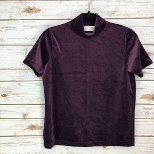 Pierre Cardin Tops - Pierre Cardin purple velour short sleeve mockneck